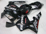 2003 2004 Honda CBR600RR Metallic Black Fairing, Honda CBR600RR Black Repsol Fairing/Bodywork.