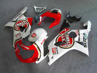 Suzuki GSXR1000 2000 2001 2002 Lucky Strike fairing kits, this Suzuki GSXR1000 2000 2001 2002 plastics was applied in Lucky Strike graphics, this 2000 2001 2002 GSXR1000 fairing set comes with the both color and decals shown as the photo.If you want to do custom fairings for GSXR1000 2000 2001 2002,our talented airbrusher will custom it for you.