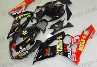 Suzuki GSXR1000 2005 2006 Rizla black/red fairing kits, this Suzuki GSXR1000 2005 2006 plastics was applied in Rizla black/red graphics, this 2005 2006 GSXR1000 fairing set comes with the both color and decals shown as the photo.If you want to do custom fairings for GSXR1000 2005 2006,our talented airbrusher will custom it for you