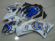 Suzuki GSXR1000 2007 2008 Lucky Strike fairing kits, this Suzuki GSXR1000 2007 2008 plastics was applied in Lucky Strike graphics, this 2007 2008 GSXR1000 fairing set comes with the both color and decals shown as the photo.If you want to do custom fairings for GSXR1000 2007 2008,our talented airbrusher will custom it for you.