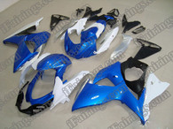 Suzuki GSXR1000 2009 2010 white,blue and black fairing kits, this Suzuki GSXR1000 2009 2010 plastics was applied in white,blue and black graphics, this 2009 2010 GSXR1000 fairing set comes with the both color and decals shown as the photo.If you want to do custom fairings for GSXR1000 2009 2010,our talented airbrusher will custom it for you.