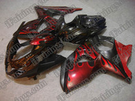 Suzuki GSXR1000 2009 2010 red flame fairing kits, this Suzuki GSXR1000 2009 2010 plastics was applied in red flame graphics, this 2009 2010 GSXR1000 fairing set comes with the both color and decals shown as the photo.If you want to do custom fairings for GSXR1000 2009 2010,our talented airbrusher will custom it for you.