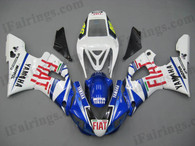 Yamaha YZF-R1 1998 1999 Fiat replica fairing kits, this Yamaha YZF-R1 1998 1999 plastics was applied in Fiat replicagraphics, this 1998 1999 YZF-R1 fairing set comes with the both color and decals shown as the photo.If you want to do custom fairings for YZF-R1 1998 1999,our talented airbrusher will custom it for you.