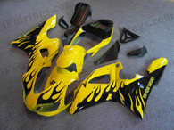 Yamaha YZF-R1 1998 1999 yellow and black flame fairing kits, this Yamaha YZF-R1 1998 1999 plastics was applied in yellow and black flamegraphics, this 1998 1999 YZF-R1 fairing set comes with the both color and decals shown as the photo.If you want to do custom fairings for YZF-R1 1998 1999,our talented airbrusher will custom it for you.