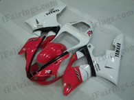 Yamaha YZF-R1 2000 2001 oem matched red/black fairing kits, this Yamaha YZF-R1 2000 2001 plastics was applied in oem matched red/blackgraphics, this 2000 2001 YZF-R1 fairing set comes with the both color and decals shown as the photo.If you want to do custom fairings for YZF-R1 2000 2001,our talented airbrusher will custom it for you.