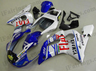 Yamaha YZF-R6 1998 to 2002 silver and black fairing kits, this Yamaha YZF-R6 1998 to 2002 plastics was applied in silver and blackgraphics, this 1998 to 2002 YZF-R6 fairing set comes with the both color and decals shown as the photo.If you want to do custom fairings for YZF-R6 1998 to 2002,our talented airbrusher will custom it for you.