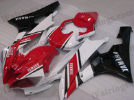 Yamaha YZF-R6 2006 2007 red and white fairing kits, this Yamaha YZF-R6 2006 2007 plastics was applied in red and whitegraphics, this 2006 2007 YZF-R6 fairing set comes with the both color and decals shown as the photo.If you want to do custom fairings for YZF-R6 2006 2007,our talented airbrusher will custom it for you.