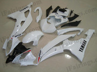 Yamaha YZF-R6 2008 to 2012 pearl white fairing kits, this Yamaha YZF-R6 2008 to 2012 plastics was applied in pearl whitegraphics, this 2008 to 2012 YZF-R6 fairing set comes with the both color and decals shown as the photo.If you want to do custom fairings for YZF-R6 2008 to 2012,our talented airbrusher will custom it for you.