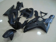 Kawasaki ZX6R 636 2003 2004 matt/flat black fairing kits, this Kawasaki ZX6R 636 2003 2004 plastics was applied in matt/flat blackgraphics, this 2003 2004 ZX6R 636 fairing set comes with the both color and decals shown as the photo.If you want to do custom fairings for ZX6R 636 2003 2004,our talented airbrusher will custom it for you.