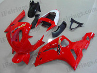 Kawasaki ZX6R 636 2003 2004 red fairing kits, this Kawasaki ZX6R 636 2003 2004 plastics was applied in redgraphics, this 2003 2004 ZX6R 636 fairing set comes with the both color and decals shown as the photo.If you want to do custom fairings for ZX6R 636 2003 2004,our talented airbrusher will custom it for you