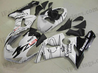 Kawasaki ZX6R 636 2005 2006 white Corona fairing kits, this Kawasaki ZX6R 636 2005 2006 plastics was applied in white Coronagraphics, this 2005 2006 ZX6R 636 fairing set comes with the both color and decals shown as the photo.If you want to do custom fairings for ZX6R 636 2005 2006,our talented airbrusher will custom it for you.