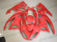 Kawasaki ZX6R 636 2009 2010 ome matched red fairing kits, this Kawasaki ZX6R 636 2009 2010 plastics was applied in ome matched redgraphics, this 2009 2010 ZX6R 636 fairing set comes with the both color and decals shown as the photo.If you want to do custom fairings for ZX6R 636 2009 2010,our talented airbrusher will custom it for you.