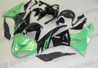 Kawasaki ZX6R 636 2009 2010 greem and black fairing kits, this Kawasaki ZX6R 636 2009 2010 plastics was applied in greem and blackgraphics, this 2009 2010 ZX6R 636 fairing set comes with the both color and decals shown as the photo.If you want to do custom fairings for ZX6R 636 2009 2010,our talented airbrusher will custom it for you.