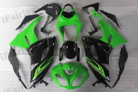 Kawasaki ZX6R 636 2009 2010 green and black fairing kits, this Kawasaki ZX6R 636 2009 2010 plastics was applied in green and blackgraphics, this 2009 2010 ZX6R 636 fairing set comes with the both color and decals shown as the photo.If you want to do custom fairings for ZX6R 636 2009 2010,our talented airbrusher will custom it for you.