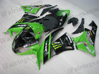 Kawasaki ZX6R 636 2009 2010 green monster fairing kits, this Kawasaki ZX6R 636 2009 2010 plastics was applied in green monstergraphics, this 2009 2010 ZX6R 636 fairing set comes with the both color and decals shown as the photo.If you want to do custom fairings for ZX6R 636 2009 2010,our talented airbrusher will custom it for you.