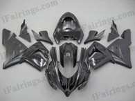 Kawasaki ZX10R 2004 2005 black fairing kits, this Kawasaki ZX10R 2004 2005 plastics was applied in blackgraphics, this 2004 2005 ZX10R fairing set comes with the both color and decals shown as the photo.If you want to do custom fairings for ZX10R 2004 2005,our talented airbrusher will custom it for you.
