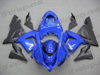 Kawasaki ZX10R 2004 2005 candy blue and black fairing kits, this Kawasaki ZX10R 2004 2005 plastics was applied in candy blue and blackgraphics, this 2004 2005 ZX10R fairing set comes with the both color and decals shown as the photo.If you want to do custom fairings for ZX10R 2004 2005,our talented airbrusher will custom it for you.