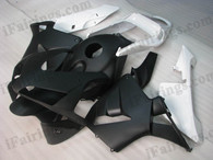 Honda CBR600RR 2003 2004 matt white and matt black fairing kits, this Honda CBR600RR 2003 2004 plastics was applied in matt white and matt black graphics, this 2003 2004 CBR600RR fairing set comes with the both color and decals shown as the photo.If you want to do custom fairings for CBR600RR 2003 2004,our talented airbrusher will custom it for you
