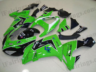Kawasaki ZX10R 2006 2007 green fairing kits, this Kawasaki ZX10R 2006 2007 plastics was applied in greengraphics, this 2006 2007 ZX10R fairing set comes with the both color and decals shown as the photo.If you want to do custom fairings for ZX10R 2006 2007,our talented airbrusher will custom it for you.