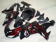 Kawasaki ZX10R 2006 2007 red flame fairing kits, this Kawasaki ZX10R 2006 2007 plastics was applied in red flamegraphics, this 2006 2007 ZX10R fairing set comes with the both color and decals shown as the photo.If you want to do custom fairings for ZX10R 2006 2007,our talented airbrusher will custom it for you.