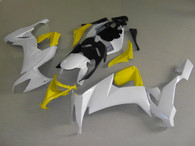Kawasaki ZX10R 2008 2009 white and yellow fairing kits, this Kawasaki ZX10R 2008 2009 plastics was applied in white and yellowgraphics, this 2008 2009 ZX10R fairing set comes with the both color and decals shown as the photo.If you want to do custom fairings for ZX10R 2008 2009,our talented airbrusher will custom it for you.