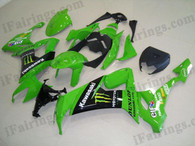 Kawasaki ZX10R 2008 2009 green monster fairing kits, this Kawasaki ZX10R 2008 2009 plastics was applied in green monstergraphics, this 2008 2009 ZX10R fairing set comes with the both color and decals shown as the photo.If you want to do custom fairings for ZX10R 2008 2009,our talented airbrusher will custom it for you.