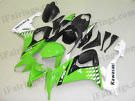 iFairings.com offer oem comparable quality fairings for Kawasaki 2008 2009 ZX10R green and white. These oem quality fairings and body kits are manufactured by original kind of material ABS with injection mold technology, which ensure our fairings and body kits being the same durable as the original fairings as well as 100% fitment. Double UV base protection painting plus clear coat covering on the decal and make our fairings oem factory look.