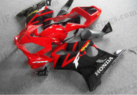Honda CBR600 F4i 2001 2002 2003 oem matched red/black fairing kits, this Honda CBR600 F4i 2001 2002 2003 plastics was applied in oem matched red/black graphics, this 2001 2002 2003 CBR600 fairing set comes with the both color and decals shown as the photo.If you want to do custom fairings for CBR600 F4i 2001 2002 2003,our talented airbrusher will custom it for you