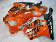Honda CBR600 F4i 2001 2002 2003 orange and black flame fairing kits, this Honda CBR600 F4i 2001 2002 2003 plastics was applied in orange and black flame graphics, this 2001 2002 2003 CBR600 fairing set comes with the both color and decals shown as the photo.If you want to do custom fairings for CBR600 F4i 2001 2002 2003,our talented airbrusher will custom it for you.
