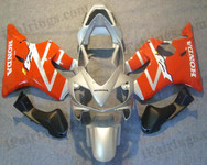 Honda CBR600 F4i 2001 2002 2003 red and silver fairing kits, this Honda CBR600 F4i 2001 2002 2003 plastics was applied in red and silver graphics, this 2001 2002 2003 CBR600 fairing set comes with the both color and decals shown as the photo.If you want to do custom fairings for CBR600 F4i 2001 2002 2003,our talented airbrusher will custom it for you.