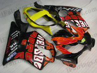 Honda CBR600 F4i 2001 2002 2003 rossi repsol limited edition fairing kits, this Honda CBR600 F4i 2001 2002 2003 plastics was applied in rossi repsol limited edition graphics, this 2001 2002 2003 CBR600 fairing set comes with the both color and decals shown as the photo.If you want to do custom fairings for CBR600 F4i 2001 2002 2003,our talented airbrusher will custom it for you