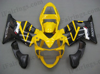 Honda CBR600 F4i 2001 2002 2003 yellow and black fairing kits, this Honda CBR600 F4i 2001 2002 2003 plastic was applied in yellow and black graphics, this 2001 2002 2003 CBR600 fairing set comes with the both color and decals shown as the photo.If you want to do custom fairings for CBR600 F4i 2001 2002 2003,our talented airbrusher will custom it for you