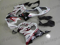 Honda CBR600 F4i 2001 2002 2003 white/red flame fairing kits, this Honda CBR600 F4i 2001 2002 2003 plastic was applied in white/red flame graphics, this 2001 2002 2003 CBR600 fairing set comes with the both color and decals shown as the photo.If you want to do custom fairings for CBR600 F4i 2001 2002 2003,our talented airbrusher will custom it for you