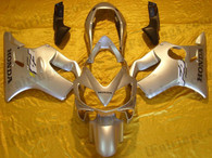 Honda CBR600 F4i 2004 2005 2006 2007 silver fairing kits, this Honda CBR600 F4i 2004 2005 2006 2007 plastics was applied in silver graphics, this 2004 2005 2006 2007 CBR600 fairing set comes with the both color and decals shown as the photo.If you want to do custom fairings for CBR600 F4i 2004 2005 2006 2007,our talented airbrusher will custom it for you