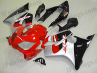 Honda CBR600 F4i 2001 2002 2003 red.silver and black fairing kits, this Honda CBR600 F4i 2001 2002 2003 plastics was applied in red.silver and black graphics, this 2001 2002 2003 CBR600 fairing set comes with the both color and decals shown as the photo.If you want to do custom fairings for CBR600 F4i 2001 2002 2003,our talented airbrusher will custom it for you.