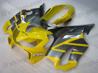 Honda CBR600 F4i 2001 2002 2003 yellow and gray fairing kits, this Honda CBR600 F4i 2001 2002 2003 plastics was applied in yellow and gray graphics, this 2001 2002 2003 CBR600 fairing set comes with the both color and decals shown as the photo.If you want to do custom fairings for CBR600 F4i 2001 2002 2003,our talented airbrusher will custom it for you