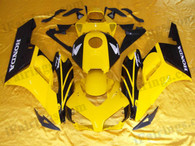 Honda CBR1000RR 2004 2005 yellow and black fairing kits, this Honda CBR1000RR 2004 2005 plastics was applied in yellow and blackgraphics, this 2004 2005 CBR1000RR fairing set comes with the both color and decals shown as the photo.If you want to do custom fairings for CBR1000RR 2004 2005,our talented airbrusher will custom it for you