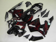 Aftermarket fairings and bodywork for Honda CBR600RR 2003 2004, this fairing assembly is painted in glossy black with red frame, it is a good replacement fairings.