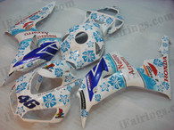 Honda CBR1000RR 2006 2007 Nastro Azzurro fairing kits, this Honda CBR1000RR 2006 2007 plastics was applied in Nastro Azzurrographics, this 2006 2007 CBR1000RR fairing set comes with the both color and decals shown as the photo.If you want to do custom fairings for CBR1000RR 2006 2007,our talented airbrusher will custom it for you