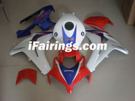 Honda CBR1000RR 2008 2009 2010 2011 white,red and blue fairing kits, this Honda CBR1000RR 2008 2009 2010 2011 plastics was applied in white,red and bluegraphics, this 2008 2009 2010 2011 CBR1000RR fairing set comes with the both color and decals shown as the photo.If you want to do custom fairings for CBR1000RR 2008 2009 2010 2011,our talented airbrusher will custom it for you.