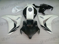 Honda CBR1000RR 2008 2009 2010 2011 black and white fairing kits, this Honda CBR1000RR 2008 2009 2010 2011 plastics was applied in black and whitegraphics, this 2008 2009 2010 2011 CBR1000RR fairing set comes with the both color and decals shown as the photo.If you want to do custom fairings for CBR1000RR 2008 2009 2010 2011,our talented airbrusher will custom it for you.