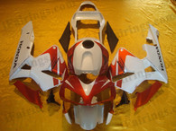 Honda CBR600RR 2003 2004 red and white fairing kits, this Honda CBR600RR 2003 2004 plastics was applied in red and white graphics, this 2003 2004 CBR600RR fairing set comes with the both color and decals shown as the photo.If you want to do custom fairings for CBR600RR 2003 2004,our talented airbrusher will custom it for you.
