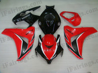 Honda CBR1000RR 2008 2009 2010 2011 red and black fairing kits, this Honda CBR1000RR 2008 2009 2010 2011 plastics was applied in red and blackgraphics, this 2008 2009 2010 2011 CBR1000RR fairing set comes with the both color and decals shown as the photo.If you want to do custom fairings for CBR1000RR 2008 2009 2010 2011,our talented airbrusher will custom it for you.