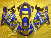 Suzuki GSXR600/750 2001 2002 2003 Movistar fairing kits, this Suzuki GSXR600/750 2001 2002 2003 plastics was applied in Movistar graphics, this 2001 2002 2003 GSXR600/750 fairing set comes with the both color and decals shown as the photo.If you want to do custom fairings for GSXR600/750 2001 2002 2003,our talented airbrusher will custom it for you.