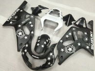 2001 2002 2003 Suzuki GSXR 600, GSXR750 matte black fairings with white stars