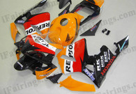 Honda CBR600RR 2003 2004 repsol replica fairing kits, this Honda CBR600RR 2003 2004 plastics was applied in repsol replica graphics, this 2003 2004 CBR600RR fairing set comes with the both color and decals shown as the photo.If you want to do custom fairings for CBR600RR 2003 2004,our talented airbrusher will custom it for you.