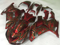 2006 to 2011 Kawasaki ZX-14 red fairing kit.