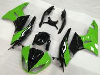 2009 2010 2011 2012 Kawasaki ZX-6R green and black fairing kit.