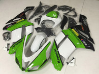 2007 2008 Kawasaki ZX-6R green and white fairing kit.