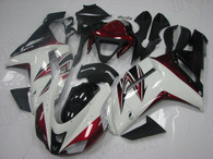 2007 2008 Kawasaki ZX-6R white and red fairing kit.